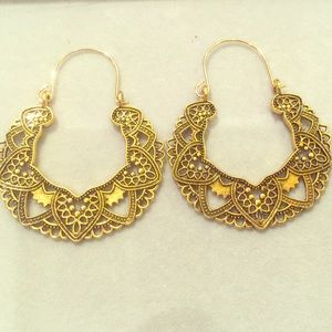 Beautiful Golden Hoop Detail Earrings